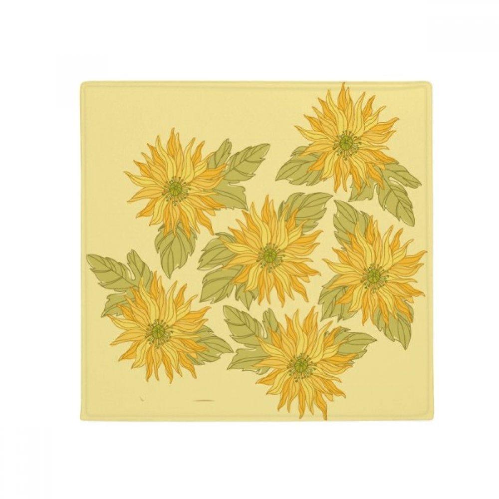 DIYthinker Hand Painted Flower Plant Sunflower Greenery Anti-Slip Floor Pet Mat Square Home Kitchen Door 80Cm Gift