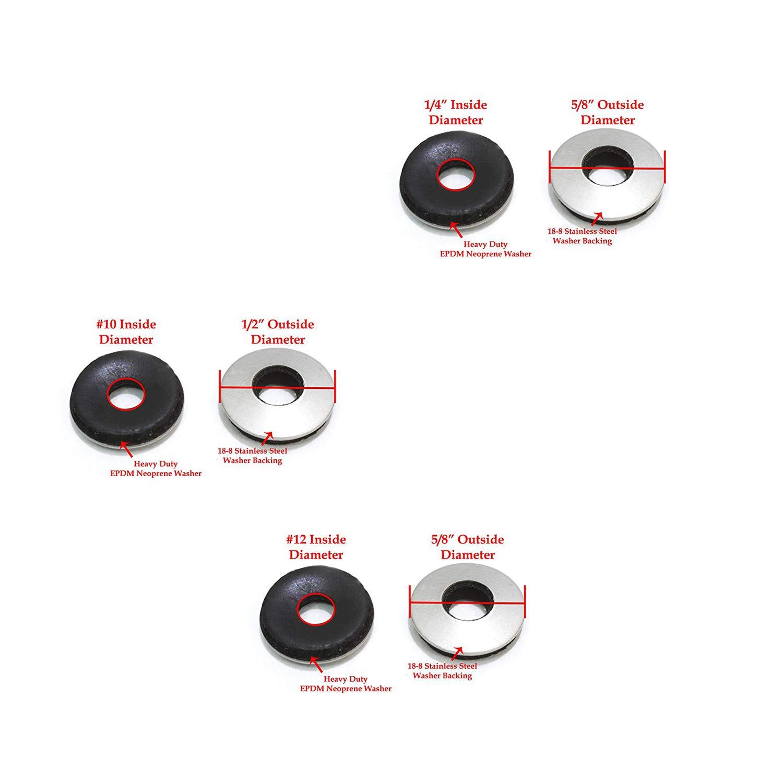 Assortiment de Rondelles YouU 138 Pi/èces en Acier Inoxydable Recouvert de EPDM coll/é Avec Joint D/étanch/éit/é pour Vis # 4 // # 5 // # 6 Travail