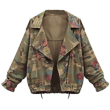 chaqueta moto mujer deportivas Sannysis abrigos de mujer invierno elegantes baratos manga de murciélago Camuflaje Escudo