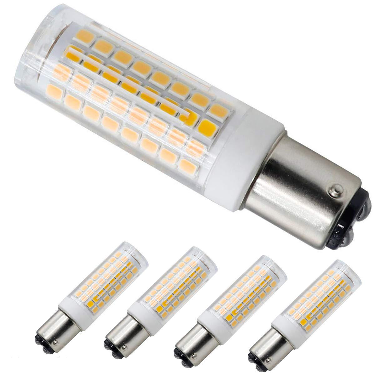 XRZT BA15D 120V LED Bulbs, Dimmable Double Contact Bayonet Base, Warm White 3000K, T3/T4,7W 75W Halogen Bulbs Equivalent for Sewing Machine Lamp(4-pack)