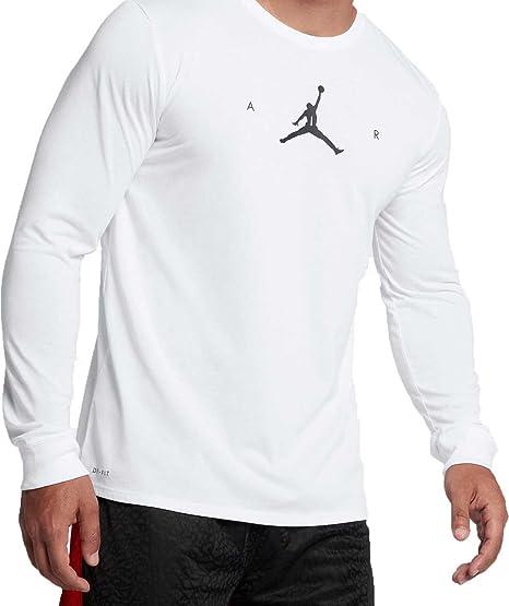 a27d0579 Jordan Men's Air Jumpman Long Sleeve Basketball Shirt (White/Black, ...