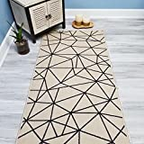 Your Choice Length Ivory & Black Mosaic Tiles Non-Slip Rubber Backed Carpet Runner Rug | 22-inch x 8-feet