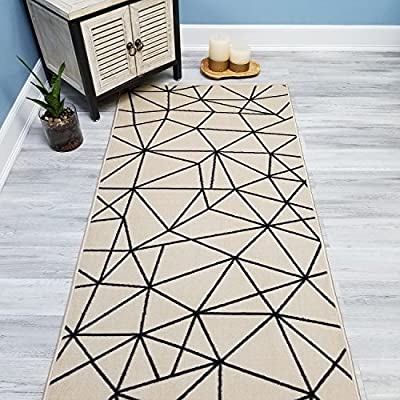 Your Choice Length Ivory & Black Mosaic Tiles Non-Slip Rubber Backed Carpet Runner Rug | 22-inch x 6-feet - SELECTED SIZE: 22-inch x 6-feet | COLORS: Ivory & Black SELECTABLE Width & Length | The tips/ends of the runners are serged/binded for FREE! Machine made with 100% nylon SOFT CUT PILE for long lasting quality with vivid colors that won't fade away | With its stain, mold, mildew, bacteria, soil resistant premium quality polypropylene material; it is also an ideal addition to homes with kids and pets! - runner-rugs, entryway-furniture-decor, entryway-laundry-room - 61cf5Ye5XuL. SS400  -