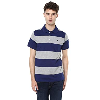 e0ae512bc6 AMERICAN CREW Men's Polo Blue & Grey Melange Stripes T-Shirt - S (AC496
