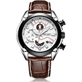 Megir Director's Fiery White 3D Sculpted Dial Chronograph Watch with Free Bracelet for Men & Boys (2065G).