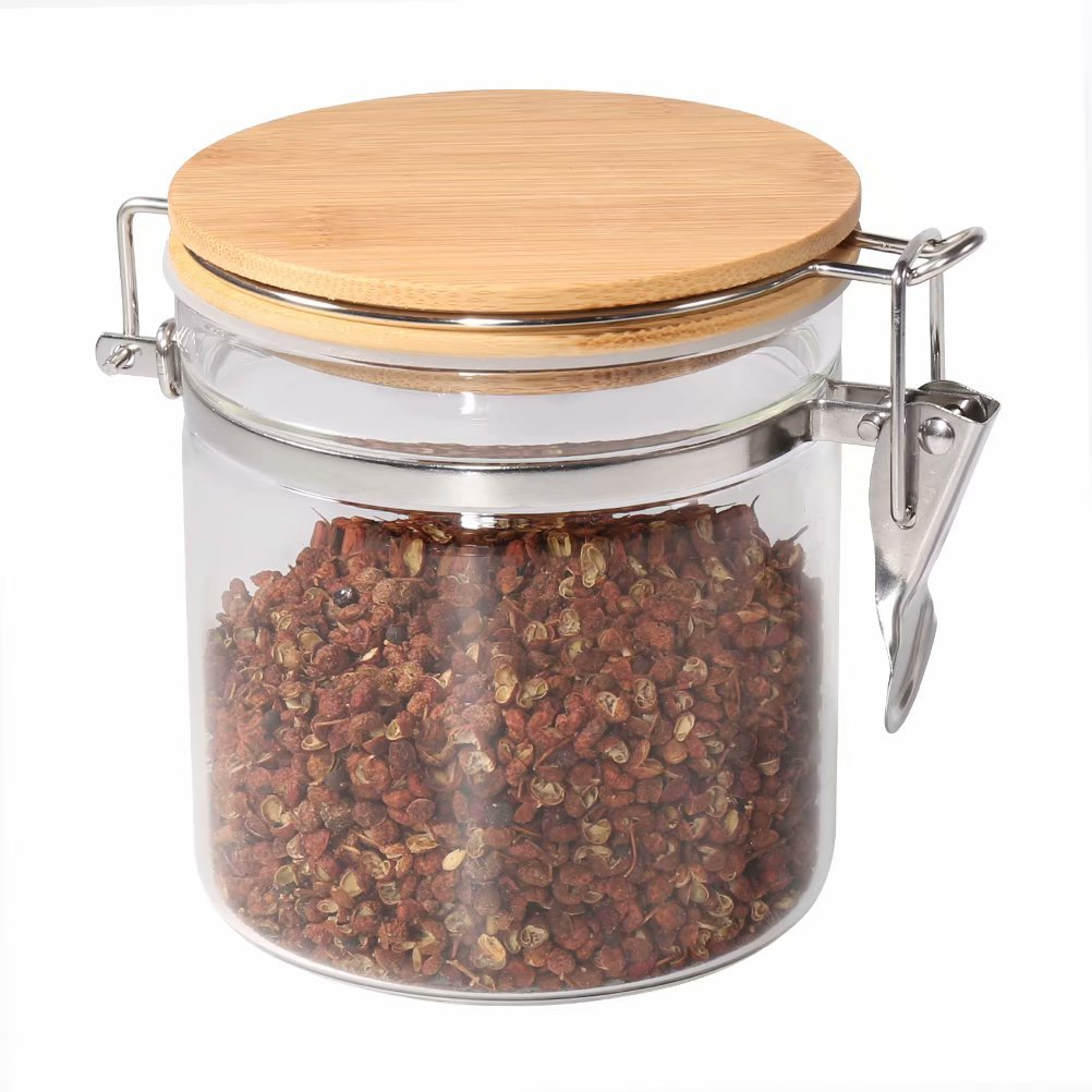 Food Storage Jar, 18.58 FL OZ (550 ML), 77L Glass Food Storage Jar with Airtight Seal Bamboo Lid, Snap-Fit White Glass Food Storage Canister for Serving Tea, Coffee, Spice and More