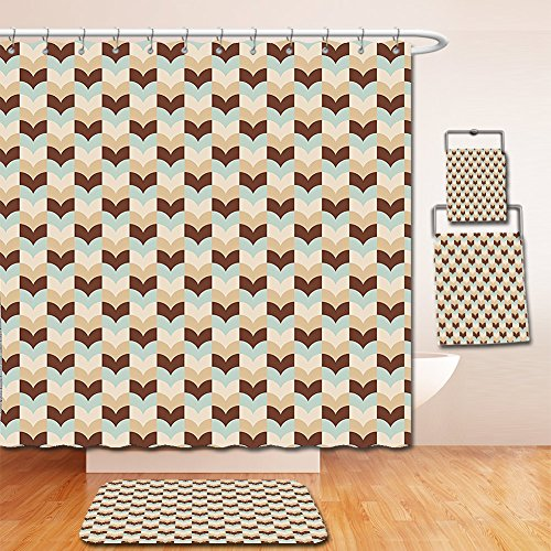 Nalahome Bath Suit: Showercurtain Bathrug Bathtowel Handtowel Abstract Wavy Pattern Vertical Stripes Vintage Classical Herringbone Design Brown Sand Brown Baby Blue