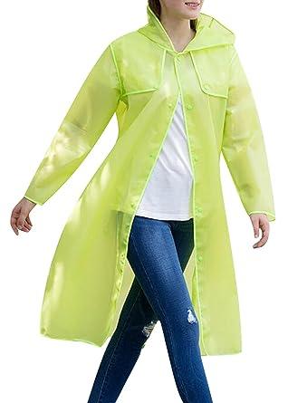 2620f65ad512 TRENDY XU Women Outdoor Walking Fishing Raincoat Emergency Hooded  Semi-transparent Rainwear (S