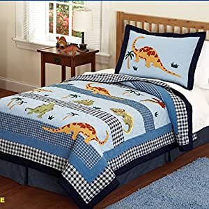Amazon.com: LELVA Children's Quilt Set Cartoon Dinosaur ...