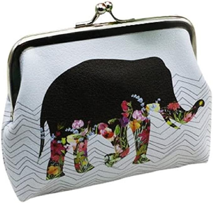 Vintage Women Printing  PU Leather Coin Purses Hasp Zero Wallet Mini Money Bag W
