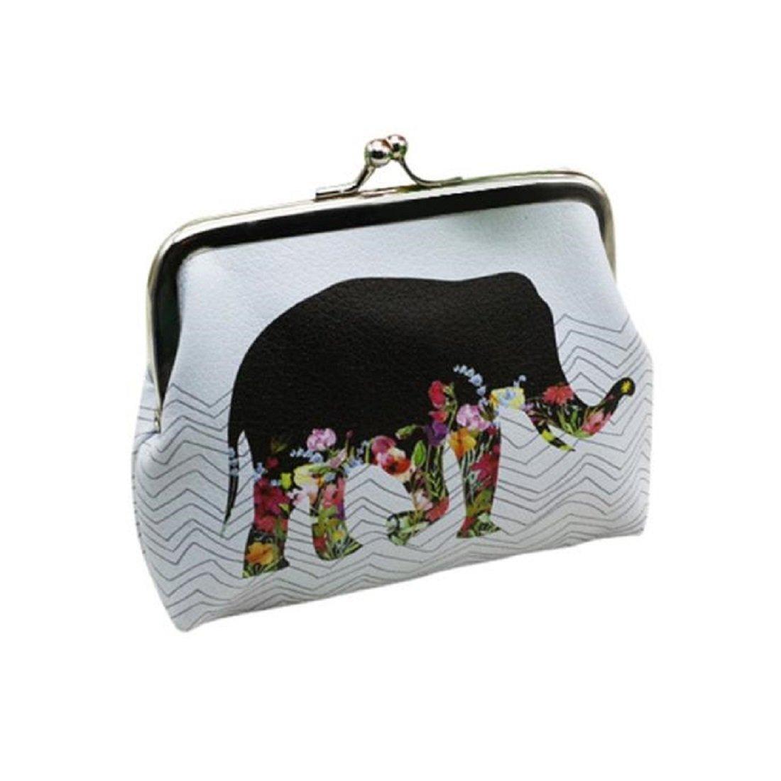 Toraway Wallet, Vintage Womens Elephant Wallet Card Holder Coin Purse Clutch Handbag White