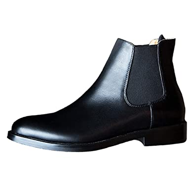 718cd4ded5ee Classic Womens Chelsea Boots Black Leather Slip ons Flat Ankle Booties  Shoes Size 5.5