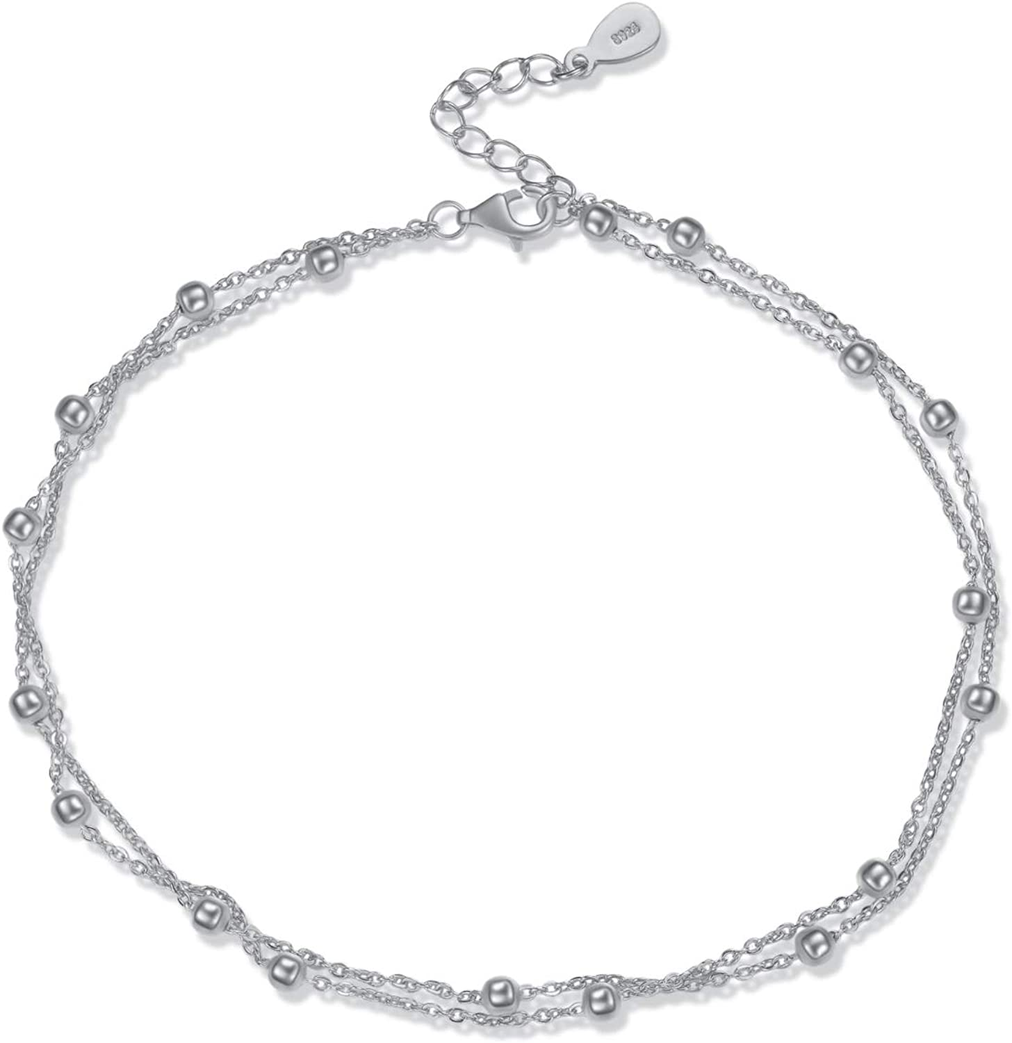 Sterling Silver Thin Ankle Bracelet Box Chain Anklet Minimalist Dainty Anklet Everyday Simple Anklet