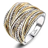 Mytys 2 Tone Gold and Silver Intertwined Design Wrapped Wire Right Hand Ring 18mm Wide