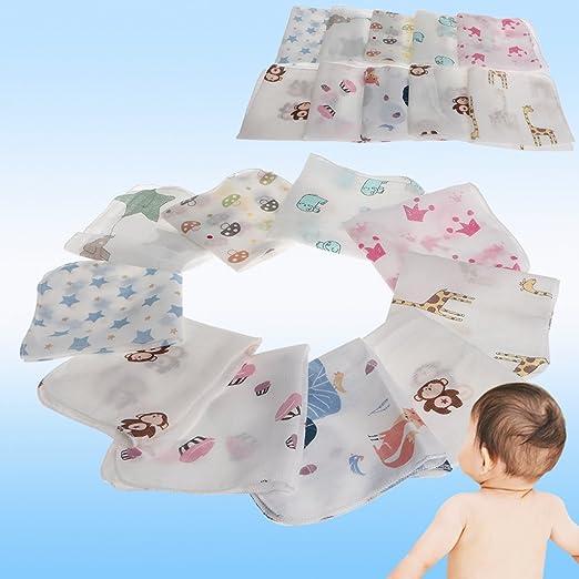 Xuniu 10 Set Toalla de beb/é Toalla de Muselina Pa/ñuelos Dos Capas Toallitas de Colores de Colores al Azar 28x28cm