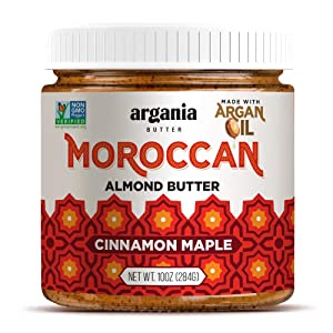 Argania Butter Maple Cinnamon Almond Butter With Superfood Organic Edible Argan Oil - Vegan, No Gluten , Kosher, Non GMO, No Palm Oil, No Dairy, No Peanuts, Keto Friendly, Low Carb. 10 Ounces