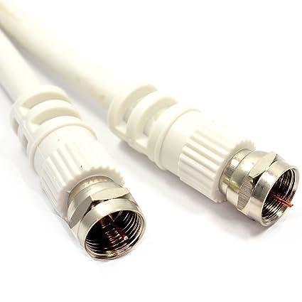 SAT F Conector Clavija A Clavija 75 ohm RG59 Cable Blanco Cable 1 m
