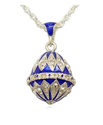 4b54c81d0a Pendentif Oeuf Style Fabergé Trés Lumineux Vert Plaqué Argent Nombreux  Cristaux et sa Chaîne Plaquée Argent