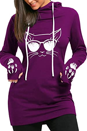 Sudadera con Capucha de Invierno para Mujer Sudadera con Estampado de Gato y Sudaderas con Guantes (Color : Púrpura, tamaño : XXL): Amazon.es: Hogar