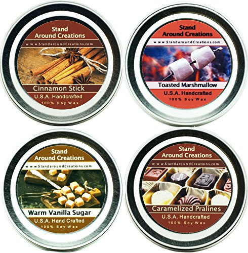 Candle Scented Toasted Vanilla (Set of 4- Premium 100% All Natural Soy Wax Aromatherapy Candle Tins: Cinnamon Stick, Caramelized Pralines, Toasted Marshmallow & Warm Vanilla Sugar. 2 oz. each - Naturally Strong, Highly Scented.)