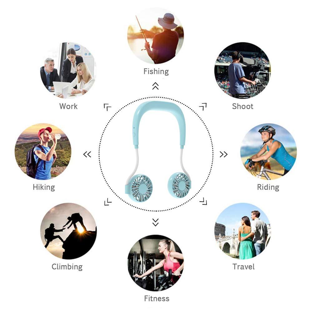 Uong 1500mAh USB Wiederaufladbarer Tragbarer Mini L/üfter Sportfan Pers/önlicher Nackenf/ächer 3 Geschwindigkeiten und 360-Grad-Drehung F/ür Indoor Outdoor Und Reisen Wei/ß Hals Ventilator