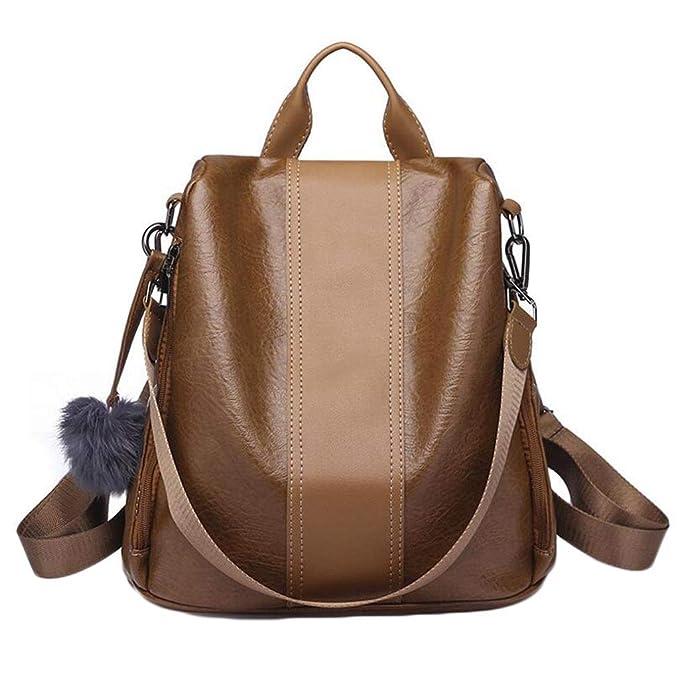 Mochila antirrobo para mujer Mochila de viaje y mochila de viaje de cuero impermeable de PU