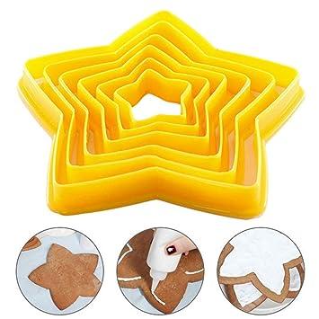 Queta Molde de plástico 3D para Hornear Pasteles, moldes para Fondant y Galletas, diseño de Estrella de Cinco Puntas: Amazon.es: Informática