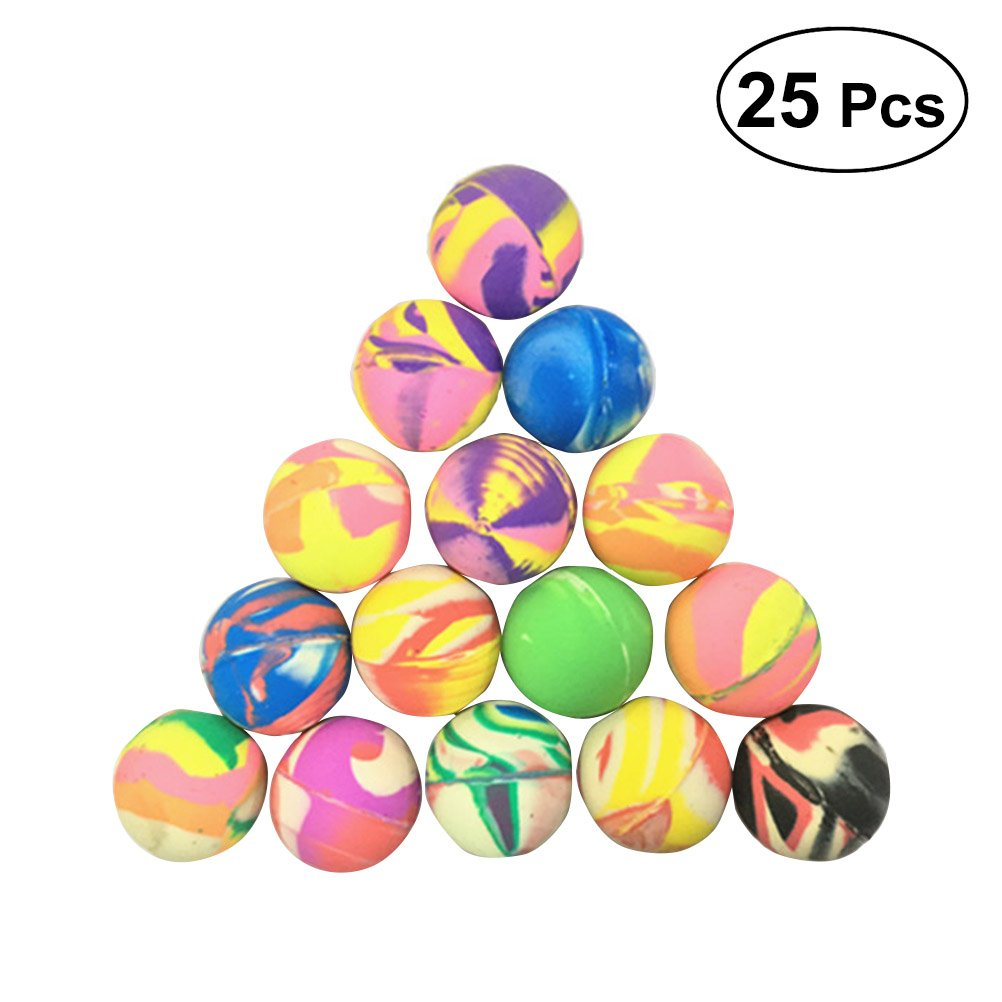 Toyvian 25pcs rimbalza la Palla rimbalzante Le Palle di Lancio delle Palle di Salto di Gomma delle Palle dei Bambini dei Bambini di Colore Misto