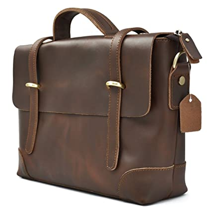 6738b83a23 Image Unavailable. Image not available for. Color  mens Genuine Leather  Briefcase Messenger Bag Vintage ...