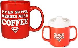 DC Superman Day Off Dad & Mini Kid Coffee Cocoa Mug Set by Junk Food, Red
