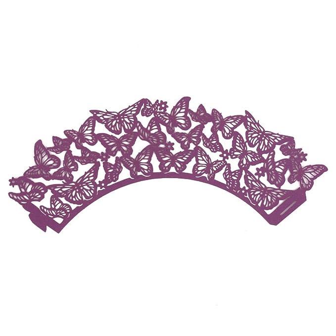 Amazon.com: eDealMax Partido de Papel iridiscente decoración ahueca hacia fuera el patrón de Mariposa Bandeja envolturas de la Magdalena 20 PCS púrpura: ...