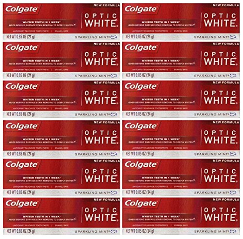 - Colgate Optic White Teeth Whitening Toothpaste, Sparkling White, Sparkling Mint, Travel Size 0.85 Ounces - Pack of 12