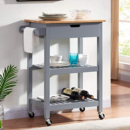 Coniffer Kitchen Rolling Island Bar Seving Cart on Wheels Microwave Trolley  Gray with Storage for Dining Rooms Kitchens and Living Rooms