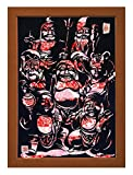 "Cutout picture Japanese art collage KIRIE ""Seven Lucky God"" Seven Deities(Gods) of Good Fortune Made by Washi(Japanese paper) Yuzen Heian, 13"" x 18"""