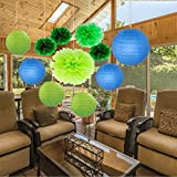 Sopeace Pack of 11 Mixed Royal Blue Green Paper Lanterns Tissue Paper Pom Pom Flowers for Party Wedding Valentines Nursery Hanging Decor