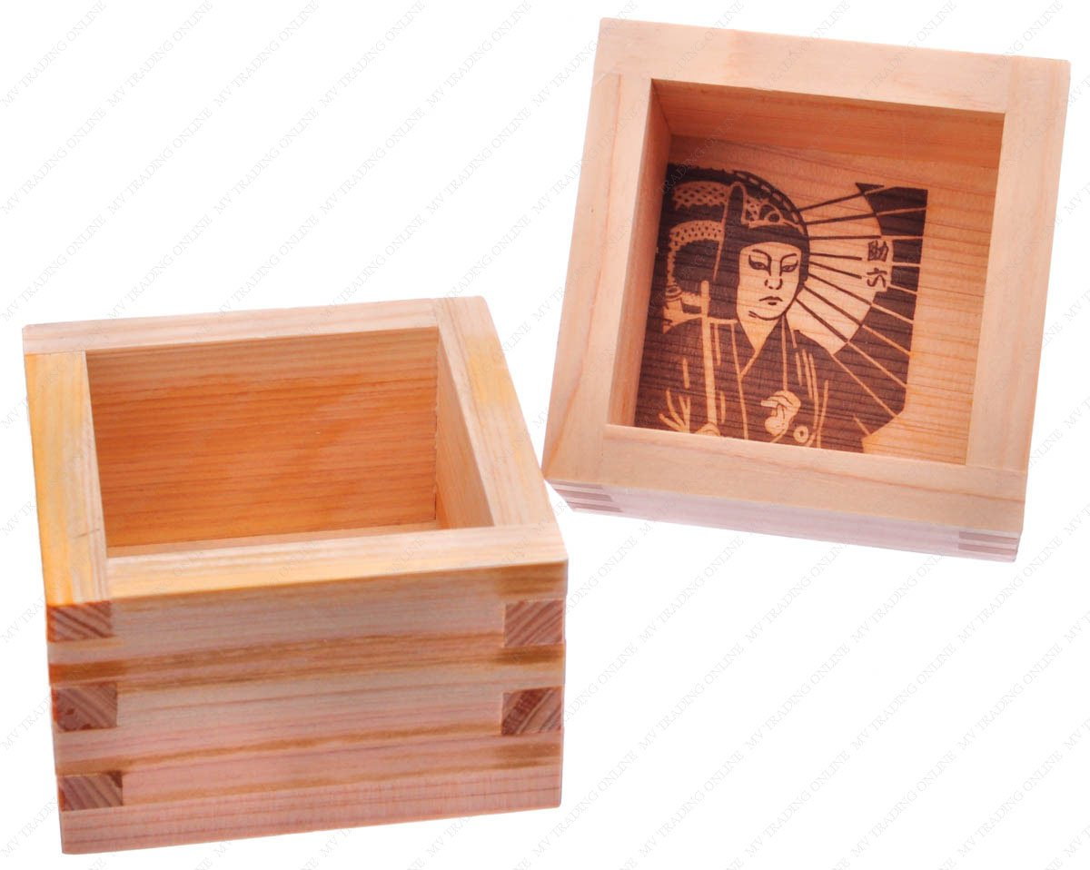 M.V. Trading MOMS103S2V Japanese Masu Wooden Square Sake Cups with Kabuki Sukeroku Men, 5 Ounces, 3-3/8 Inches (L) x 3-3/8 Inches (W) x 2 Inches (H), Set of 2 Cups M0MS103V