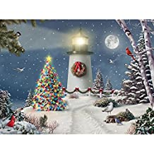Bits and Pieces - 300 Piece Jigsaw Puzzle for Adults - Coastal Holiday Lights - 300 pc Christmas Tree Lighthouse Jigsaw by Artist Alan Giana