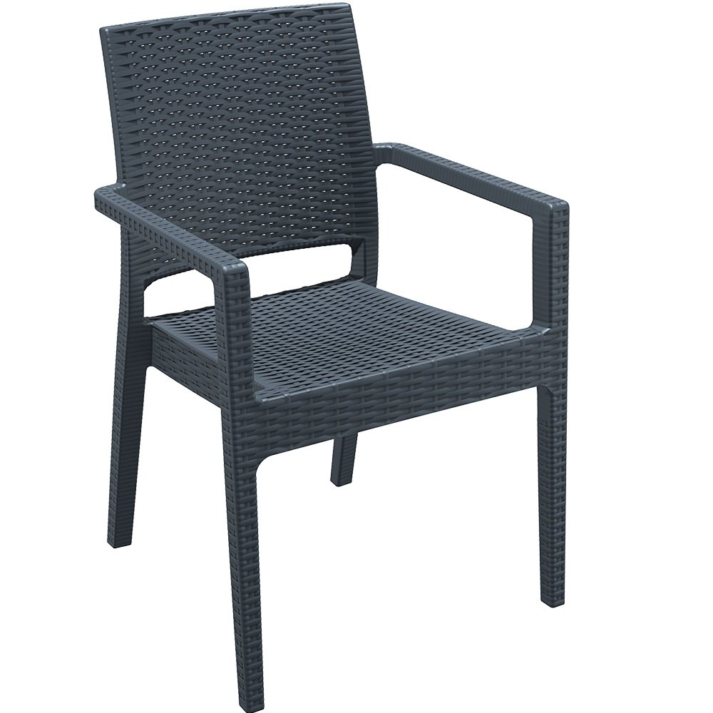 Madrid Rattan Style Reinforced Plastic Armchair - Dark Grey Outdoor Arm Chair Ideal For A Cafe, Bistro, Balcony or Patio BrackenStyle