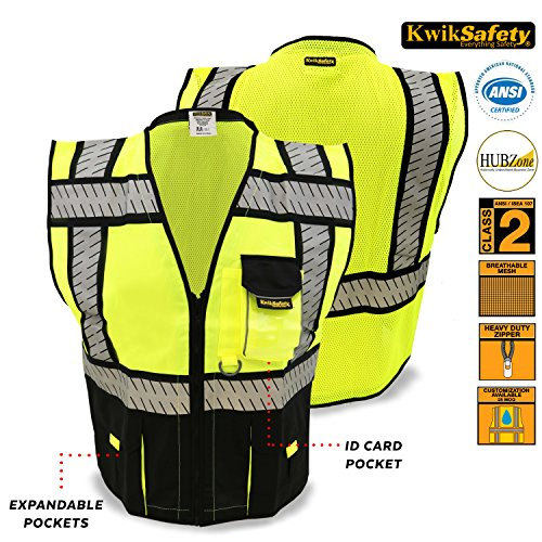 KwikSafety Class 2 Black Fishbone Safety Vest | Hi Vis Mesh Heavy Duty Zipper & Expandable Multiple Pockets | Men Women ANSI Certified High Visibility Motorcycle Construction Security Wear | (Horseback Riding Costume Class)