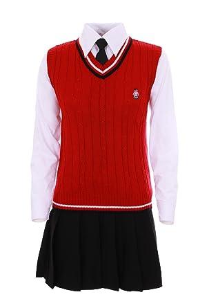 Cosplay coreana vestido écolière japonesa, color rojo y negro ...