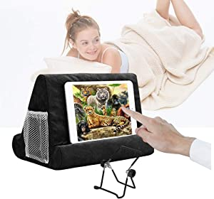 Multi-Angle Soft Pillow for iPads, Tablet Pillow Lap Stand for iPad,eReaders, Smartphones, Books, Magazines Tablet Stand Pillow Holder Black
