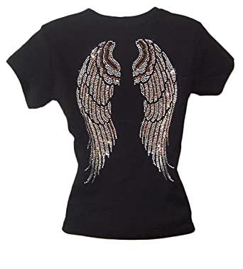 49506231a109e Angel Wing Rhinestone Black Womens T Shirts Top at Amazon Women s ...