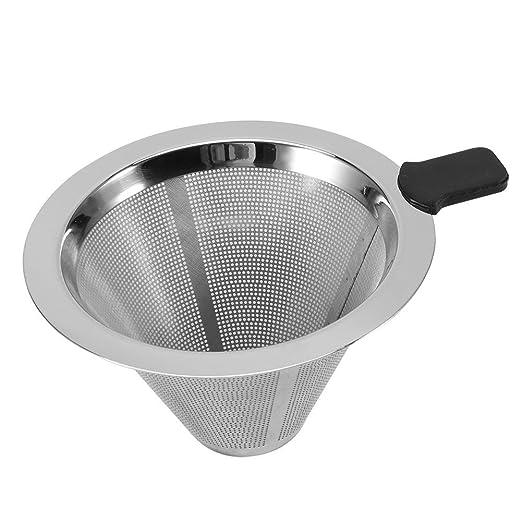 Filtro de café reutilizable de acero inoxidable cono Filtro Embudo ...