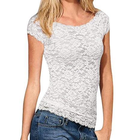 Bestow Camiseta Delgada de Manga Corta con Encaje de Mujer Blusa de Encaje de Crochet Tops Camiseta
