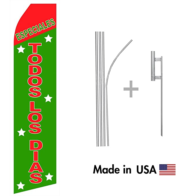 Amazon.com : wall26 Especiales Todos Los Dias Econo Flag | 16ft Aluminum Advertising Swooper Flag Kit with Hardware : Garden & Outdoor