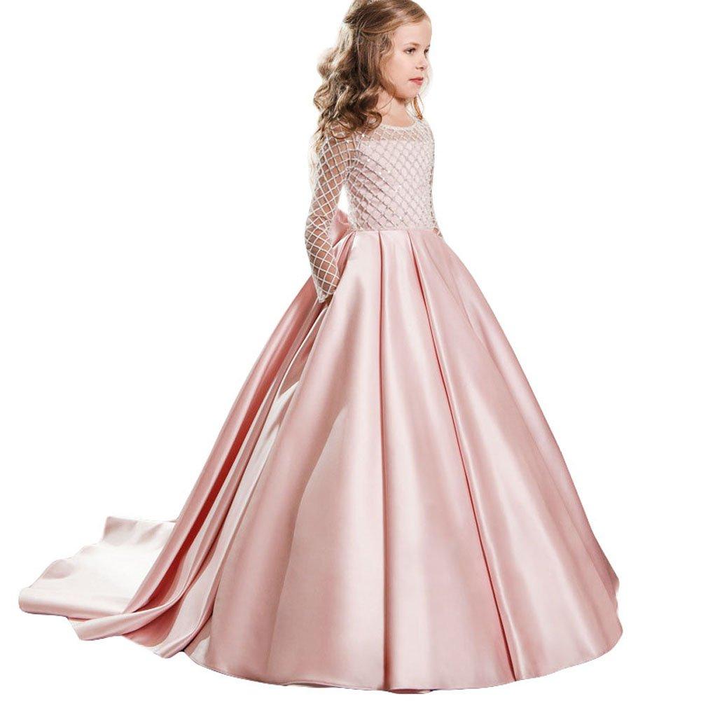 LZH Maedchen Prinzessin Kleid Hochzeits Festzug Party Spitze Tüll Brautjungfern Kleider