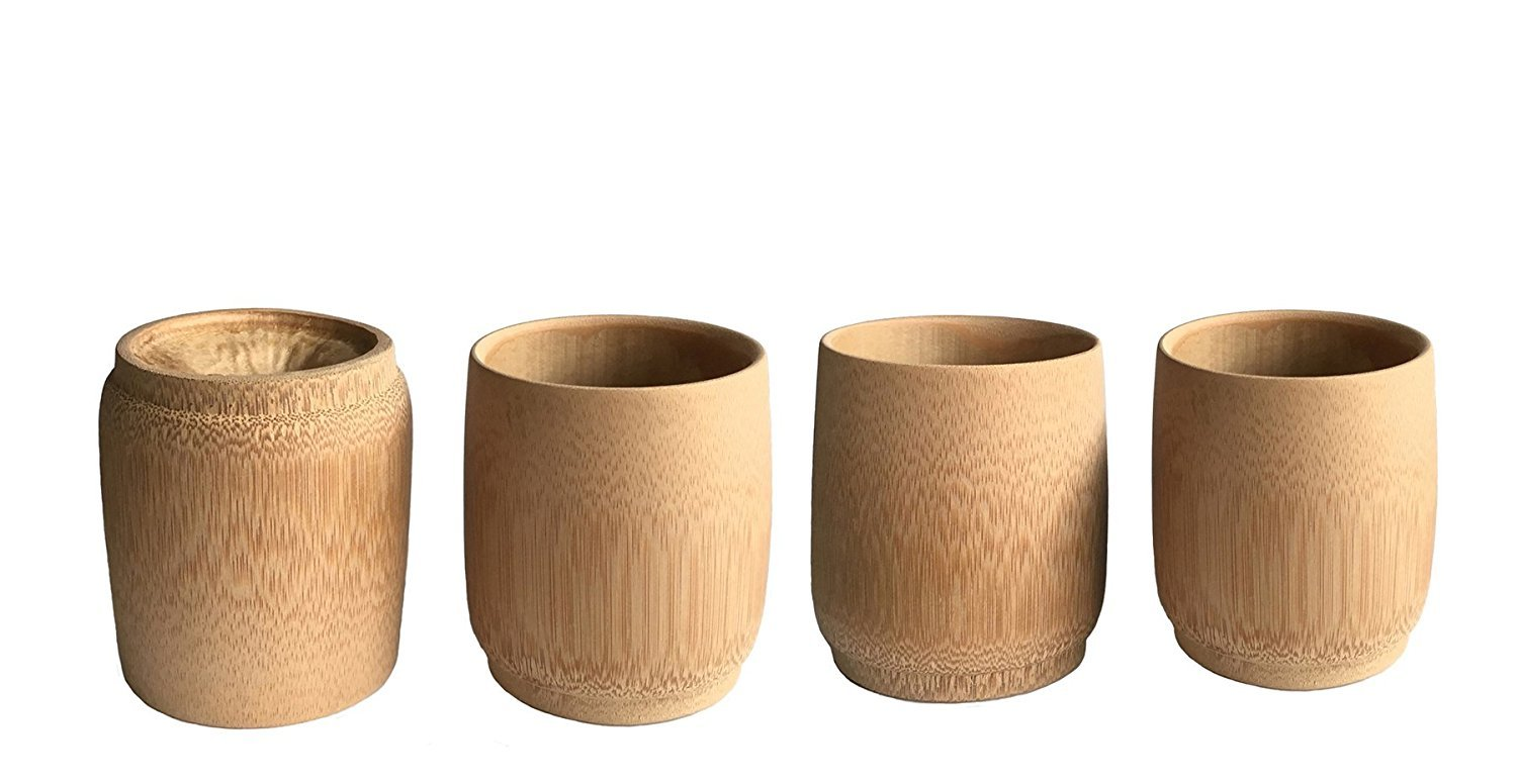 KCHAIN 4pcs Drinking Cups for Sake Coffee Tea (Bamboo)