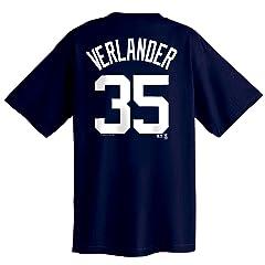 Justin Verlander Majestic Name and Number Detroit Tigers T-Shirt