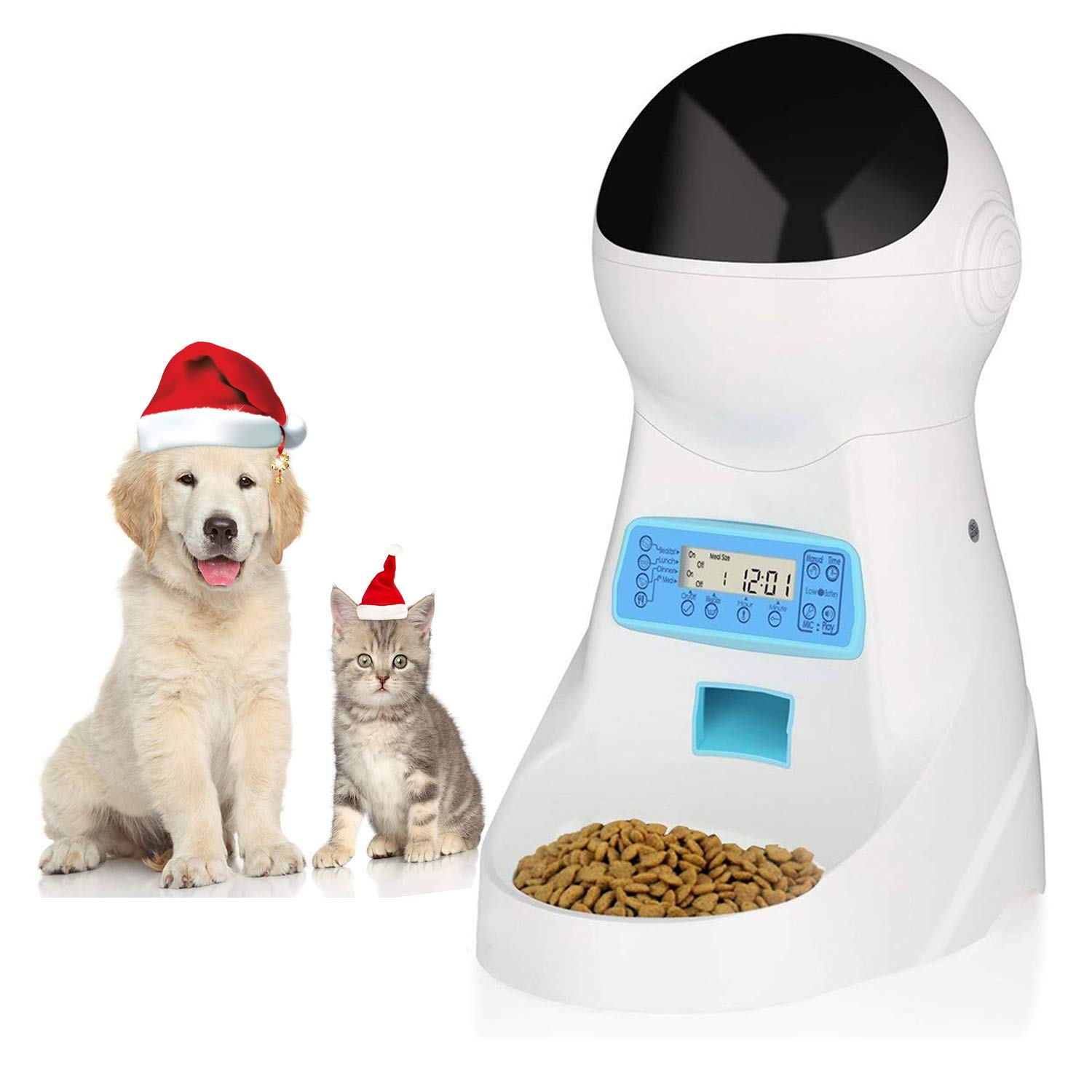 amzdeal Automatic Cat Feeder Pet Feeder Dog Food Dispenser with Time and Meal Size Programmable LCD Display and Meal Call Recorder Up to 4 Meals A Day