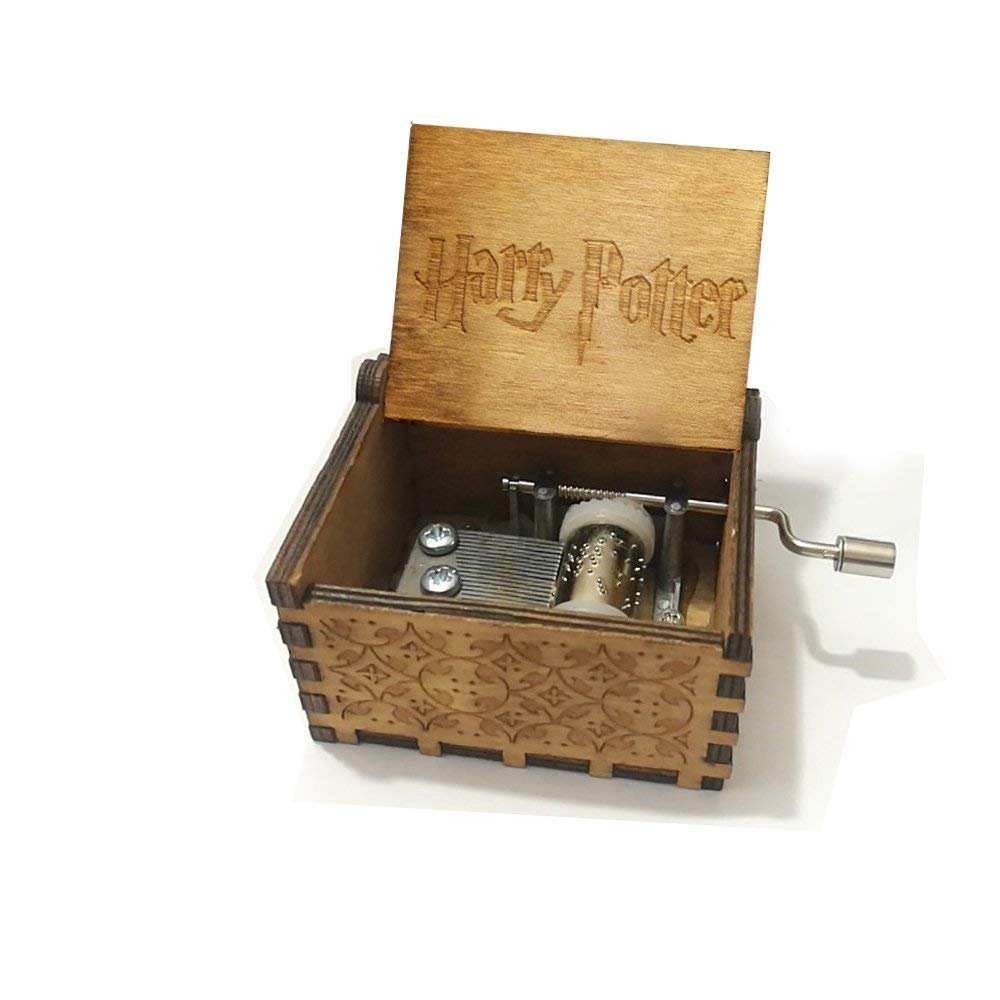 Rabi Music Box, tema Harry Potter Edvige inciso a mano in legno Music Box YoStyle